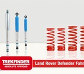 Höherlegungsfahrwerk für den 90er Defender von TREKFINDER mit B8 Dämpfern +4cm