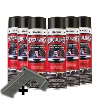 Herculiner 7m2 Spray 6x schwarz Beschichtung für Ladefläche PU Laderaumbeschichtung Ladefläche Ladew