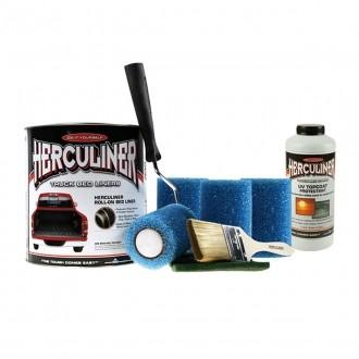 Herculiner 7m2 Kit schwarz mit UV Schutz Beschichtung für Ladefläche PU Laderaumbeschichtung Ladeflä