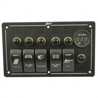Schalter Bedienpanel 5x Wippenschalter und Voltanzeige Rocker Switch horntools