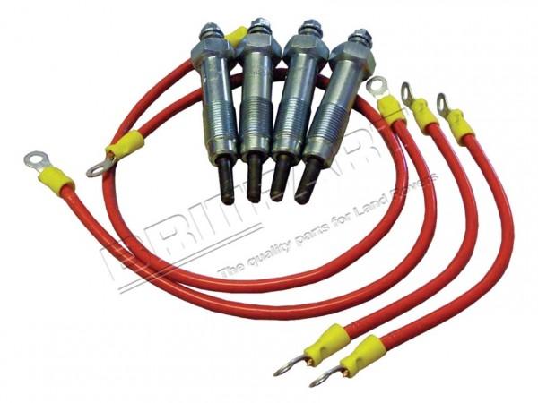 Glühkerzensatz Land Rover Serie 2-3, 2,25 Diesel, da1057 Komplettset mit Kabel
